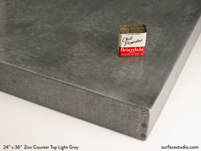 "Zinc Counter Top Light Grey 3"" Lip (25 LBS)"