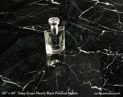 Deep Green Nearly Black Polished Marble (125 lbs)