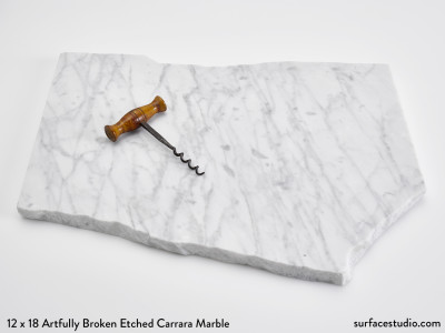 Artfully Broken Etched Carrara Marble (15 lbs)