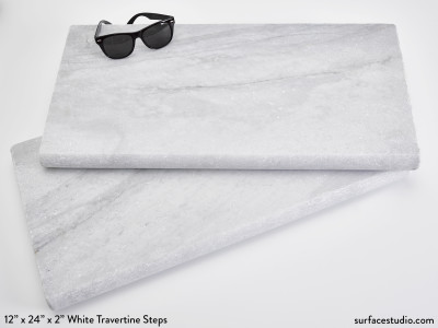 "White Travertine Steps 12"" x 24"" x 1.5"" - (40 lbs) $70 each"