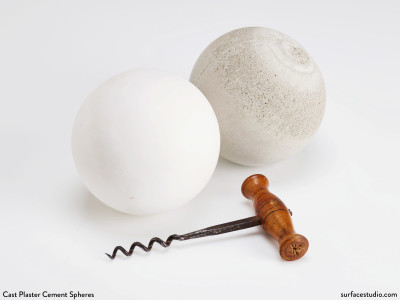 White Cast Plaster and Cement Spheres (2) $35 Each