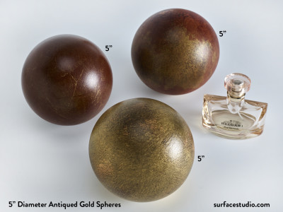 "Antiqued Gold Spheres  (3) ~ 5"" - $35 Each"