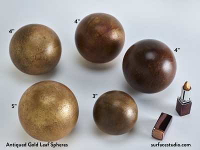 "Antiqued Gold Leaf Spheres (5) 3"" 4"" 5"" ~ $35 each"