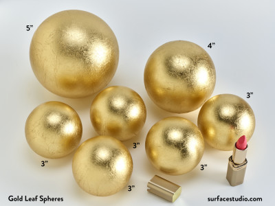 "Gold Leaf Spheres  (7) 3"" 4"" 5"" ~ $35 each"
