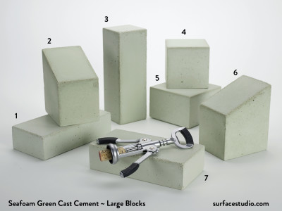 Seafoam Green Cast Cement (7) Large Blocks