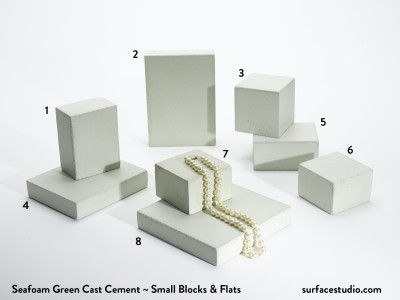 Seafoam Green Cast Cement (8) Small Blocks & Flats - $30 Each