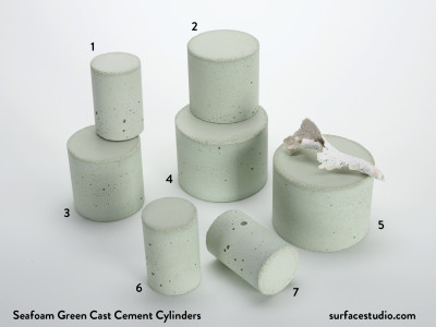 Seafoam Green Cast Cement (7) Cylinders