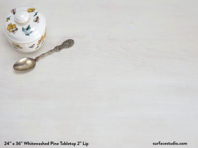 """Whitewashed Pine Tabletop 2"""" Lip"""