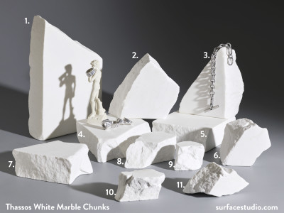 "Thassos White Marble Chunks - 2.25"" Thick (11) $25 to $50"