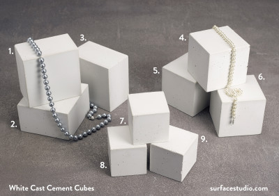 White Cast Cement Cubes  (9) $30 - $40