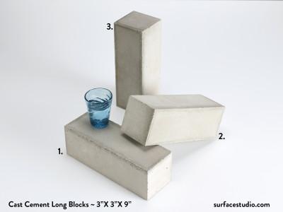 Cast Cement Long Blocks (3) $45 each