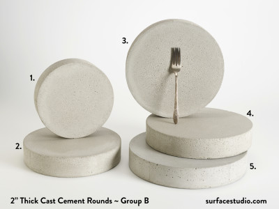 "Cast Cement 2"" Thick Rounds - Group B (5) $55 - $85"