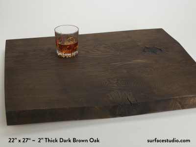 "2"" Thick Dark Brown Oak Slab 2"" Lip (25 lbs)"
