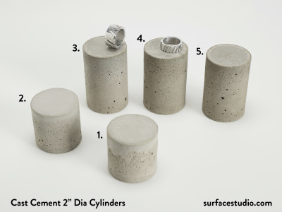 "Cast Cement 2"" Dia Cylinders (5) $30 each"