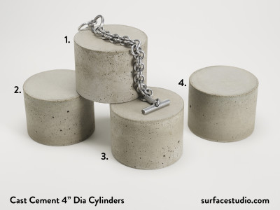 "Cast Cement 4"" Dia Cylinders - $40 each"