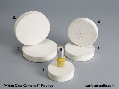 "White Cast Cement 1"" Rounds (5) $35 each"