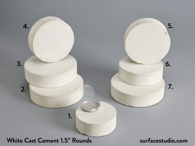 "White Cast Cement 1.5"" Rounds (7) $35 each"