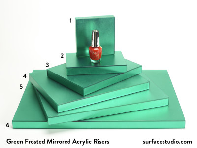 Green Frosted Mirrored Acrylic Risers (6) $35 to $55