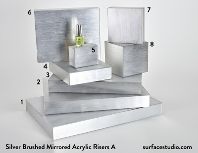Silver Brushed Mirrored Acrylic Risers A (8) $35 - $60
