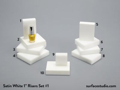 "Satin White 1"" Risers Set 1 (10) $25 - $35"