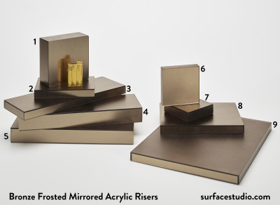 Bronze Frosted Mirrored Acrylic Risers (9) $30 to $45