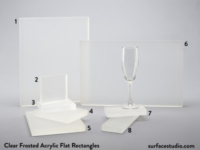 Clear Frosted Acrylic  Flat Rectangles (8)  $30 - $50