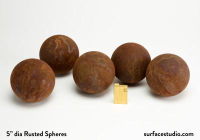 "5"" Dia Rusted Spheres (5) $30 each"