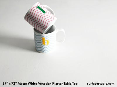 "Matte White Venetian Plaster Table Top 1 ½"" Lip (30 LBS)"