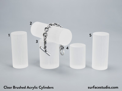 Clear Brushed Acrylic Cylinders - $30 each (5)