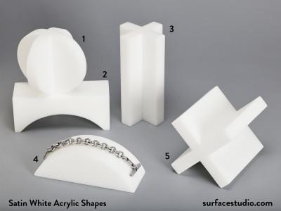 Satin White Acrylic Shapes (5) $50 each