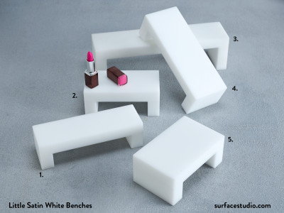 Little Satin White Benches (5) ~ $45 Each