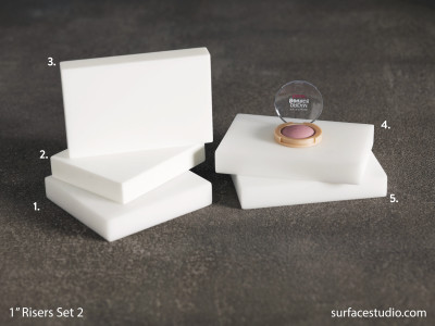 "Satin White 1"" Risers Set 2 (6) $35 each"