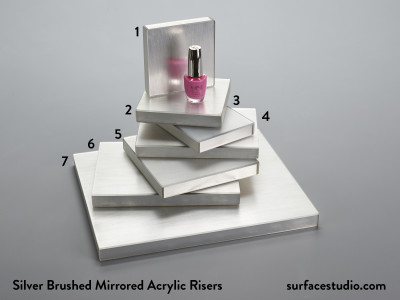 Silver Brushed Mirrored Acrylic Risers B (7) $35 - $45