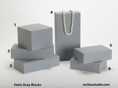 Satin Grey Blocks (6) $40-$50