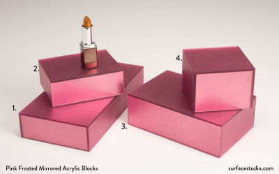 Pink Frosted Mirrored Acrylic Blocks (4) $25 - $45