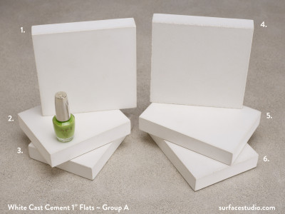 "White Cast Cement 1"" Flats ~ Group A (6) $30 each"
