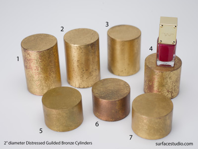 Distressed Gilded Bronze Cylinders (7) $30 each