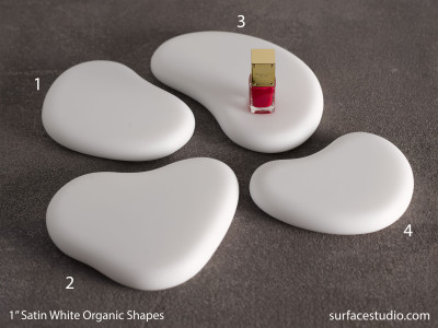 "Satin White Organic Shapes 1"" Group A (4) $45 - $55"