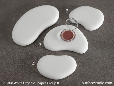 "Satin White Organic Shapes 1"" Group B (4) $45 - $55"