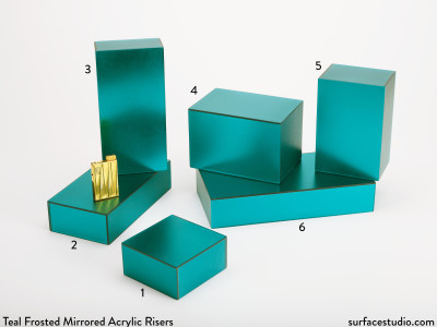 Teal Frosted Mirrored Acrylic Risers (6)