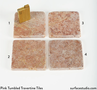 Pink Tumbled Travertine Tiles (4)  $25 Each