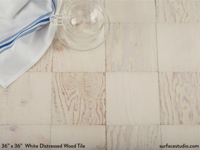 "White Distressed Wood Tile (5"" Squares)"