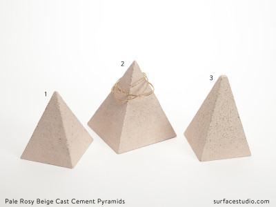 Pale Rosy Beige Cast Cement Pyramids (3) $40 each
