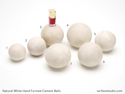 Natural White Hand Formed Cement Balls (7) - $35 each
