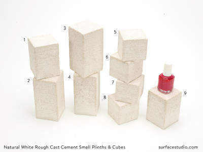 Natural White Rough Cast Cement Small Plinths & Cubes (9) $25 each