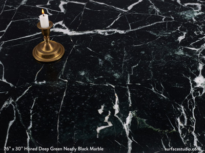 Honed Deep Green Nearly Black Marble. (75 Lbs)