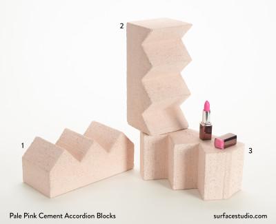 Pale Pink Cement Accordion Blocks (3) $55.00 each
