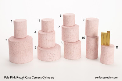 Pale Pink Rough Cast Cement Cylinders (11)