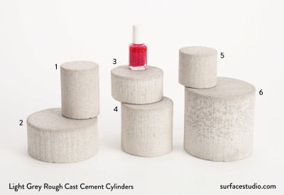 Light Grey Rough Cast Cement Cylinders (6)