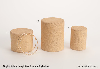 Naples Yellow Rough Cast Cement Cylinders (3)